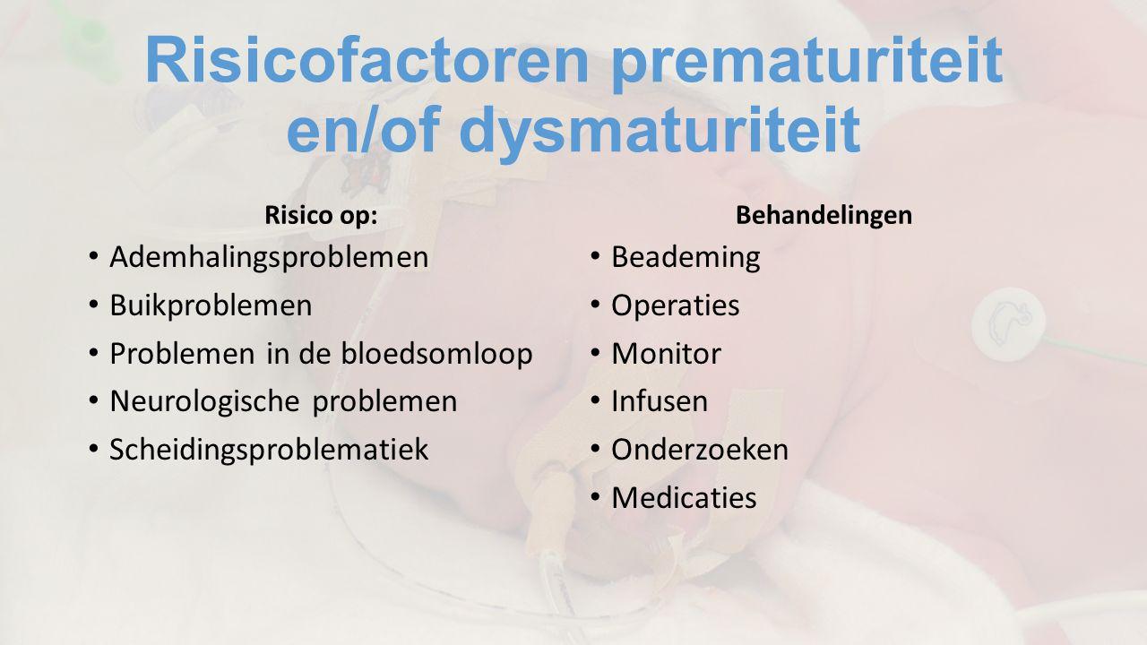 Risicofactoren prematuriteit en/of dysmaturiteit Risico op: Ademhalingsproblemen Buikproblemen Problemen in de bloedsomloop Neurologische problemen Scheidingsproblematiek Behandelingen Beademing Operaties Monitor Infusen Onderzoeken Medicaties