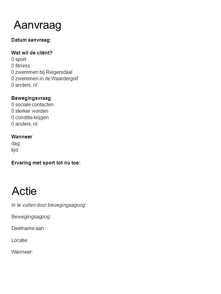 Informatie voor aanvrager Dit wordt ingevuld door de bewegingsagoog en gaat terug naar de groep Cliënt: Bewegingsagoog: Telefoonnummer beweging: 072-5752556 Email beweging: beweging@esdege-reigersdaal.nl Sportplaats: Sportmoment: Als een cliënt verhinderd is, graag afbericht op bovenstaand telefoonnummer.