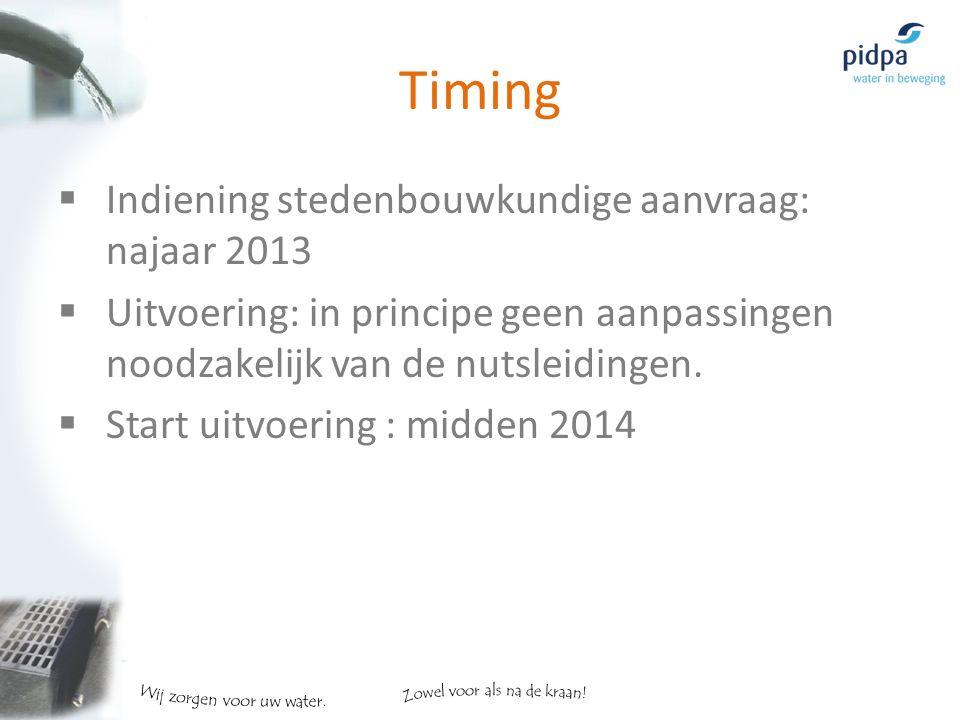 Timing  Indiening stedenbouwkundige aanvraag: najaar 2013  Uitvoering: in principe geen aanpassingen noodzakelijk van de nutsleidingen.