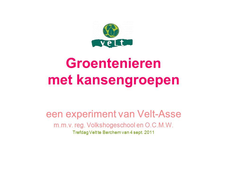 Groentenieren met kansengroepen een experiment van Velt-Asse m.m.v. reg. Volkshogeschool en O.C.M.W. Trefdag Velt te Berchem van 4 sept. 2011