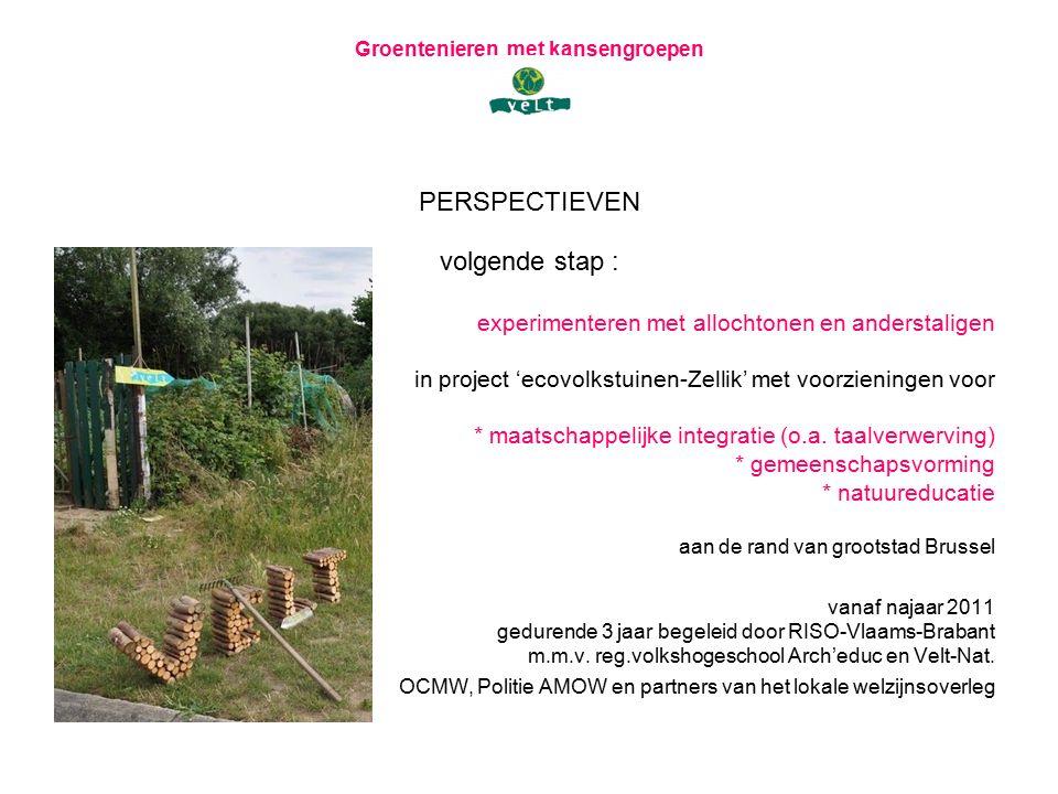 Groentenieren met kansengroepen PERSPECTIEVEN volgende stap : experimenteren met allochtonen en anderstaligen in project 'ecovolkstuinen-Zellik' met voorzieningen voor * maatschappelijke integratie (o.a.