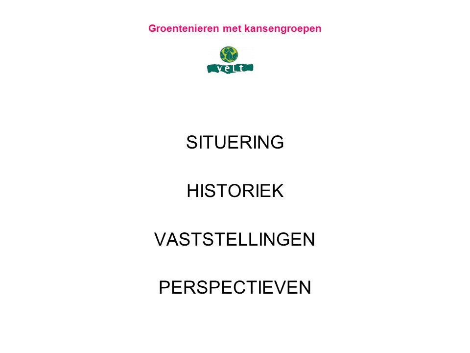 Groentenieren met kansengroepen SITUERING 4 de strategische doelstelling van het Velt Beleidsplan 2011-2015 Accurate organisatieontwikkeling o.a.