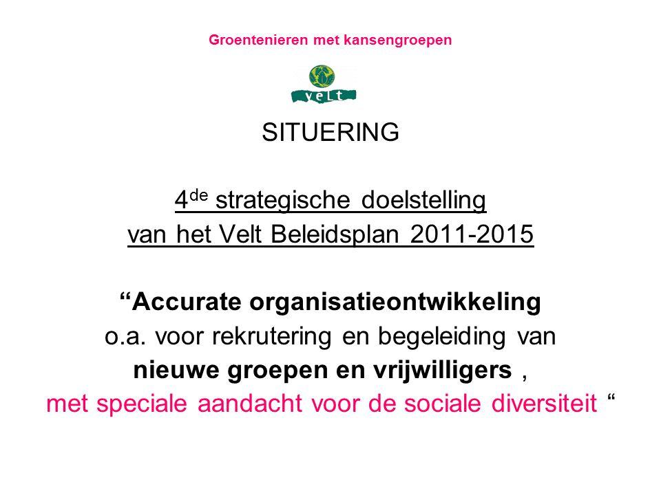 """Groentenieren met kansengroepen SITUERING 4 de strategische doelstelling van het Velt Beleidsplan 2011-2015 """"Accurate organisatieontwikkeling o.a. voo"""