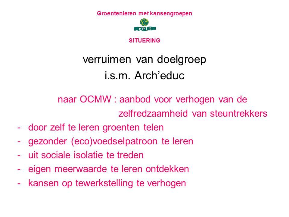 Groentenieren met kansengroepen SITUERING verruimen van doelgroep i.s.m. Arch'educ naar OCMW : aanbod voor verhogen van de zelfredzaamheid van steuntr