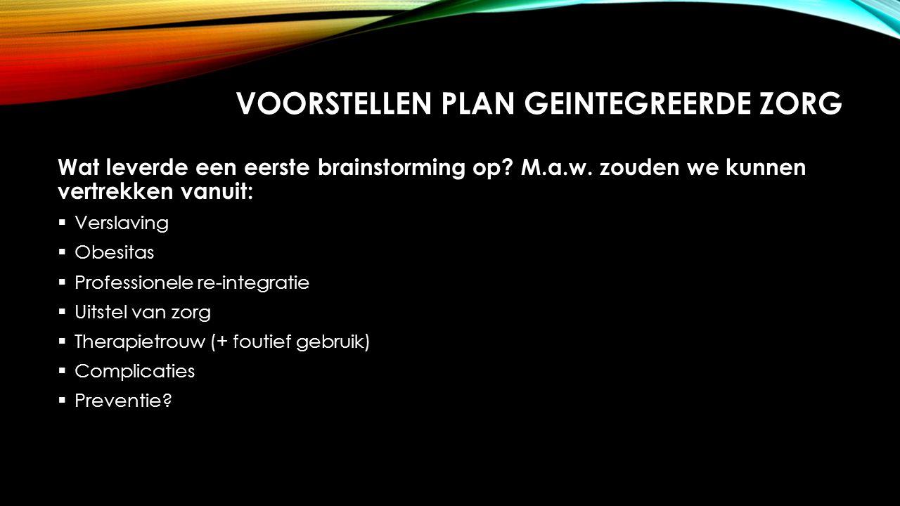 VOORSTELLEN PLAN GEINTEGREERDE ZORG Wat leverde een eerste brainstorming op.