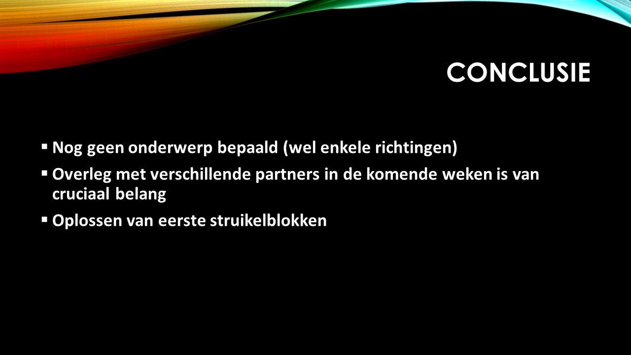 CONCLUSIE  Nog geen onderwerp bepaald (wel enkele richtingen)  Overleg met verschillende partners in de komende weken is van cruciaal belang  Oplos