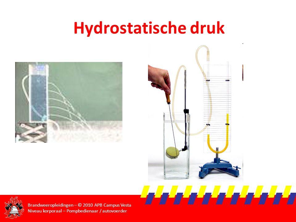 Brandweeropleidingen – © 2010 APB Campus Vesta Niveau korporaal – Pompbedienaar / autovoerder Hydrostatische druk