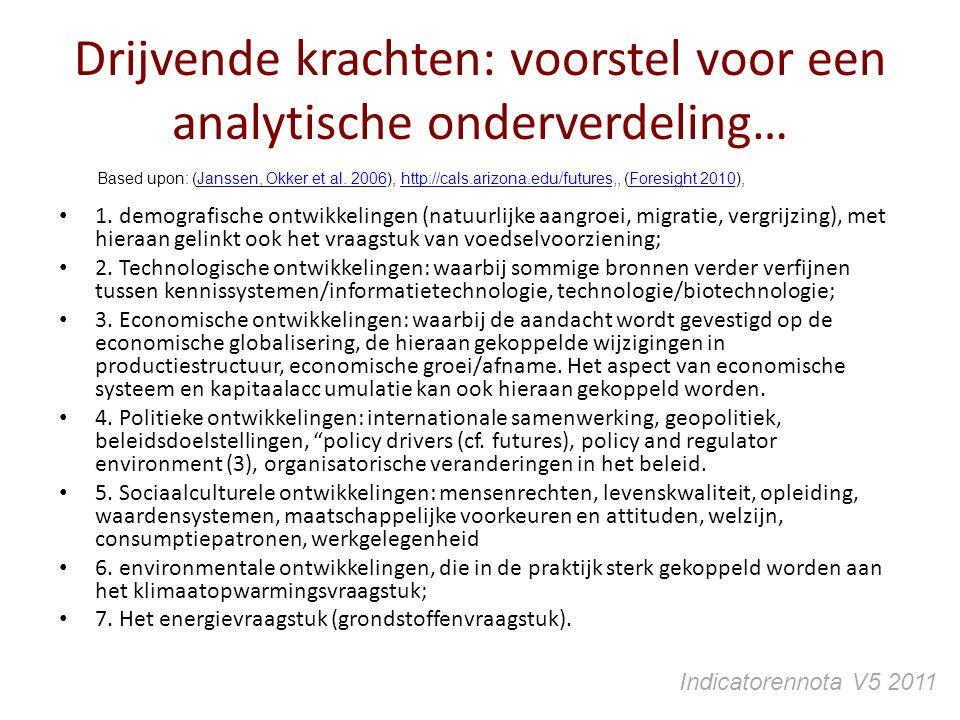 Drijvende krachten: voorstel voor een analytische onderverdeling… 1. demografische ontwikkelingen (natuurlijke aangroei, migratie, vergrijzing), met h
