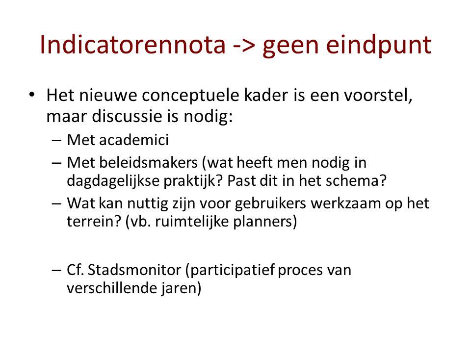 Indicatorennota -> geen eindpunt Het nieuwe conceptuele kader is een voorstel, maar discussie is nodig: – Met academici – Met beleidsmakers (wat heeft