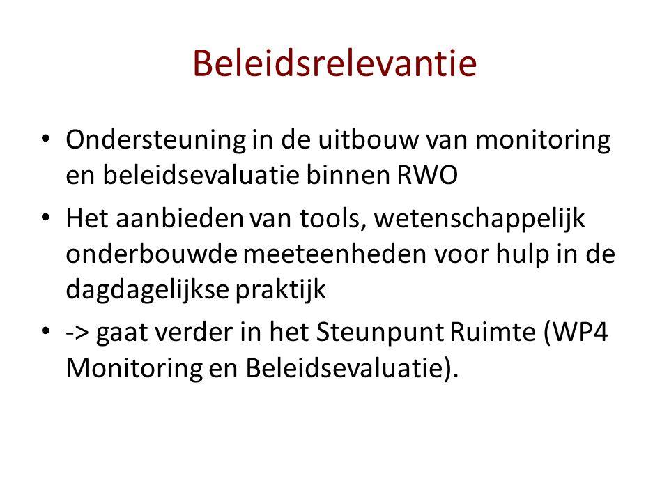 Beleidsrelevantie Ondersteuning in de uitbouw van monitoring en beleidsevaluatie binnen RWO Het aanbieden van tools, wetenschappelijk onderbouwde meeteenheden voor hulp in de dagdagelijkse praktijk -> gaat verder in het Steunpunt Ruimte (WP4 Monitoring en Beleidsevaluatie).