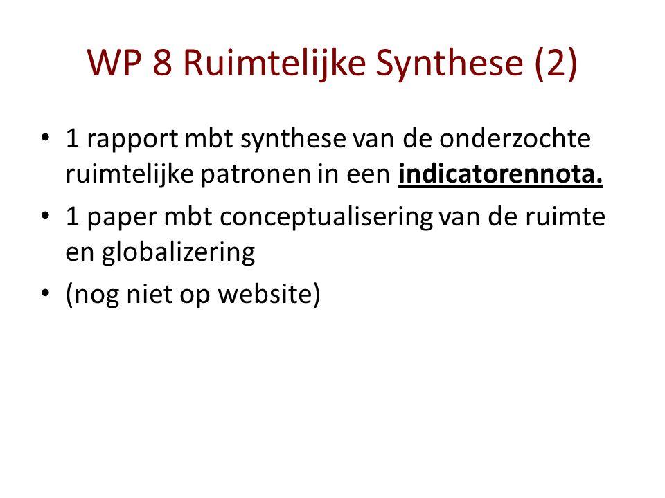 WP 8 Ruimtelijke Synthese (2) 1 rapport mbt synthese van de onderzochte ruimtelijke patronen in een indicatorennota. 1 paper mbt conceptualisering van