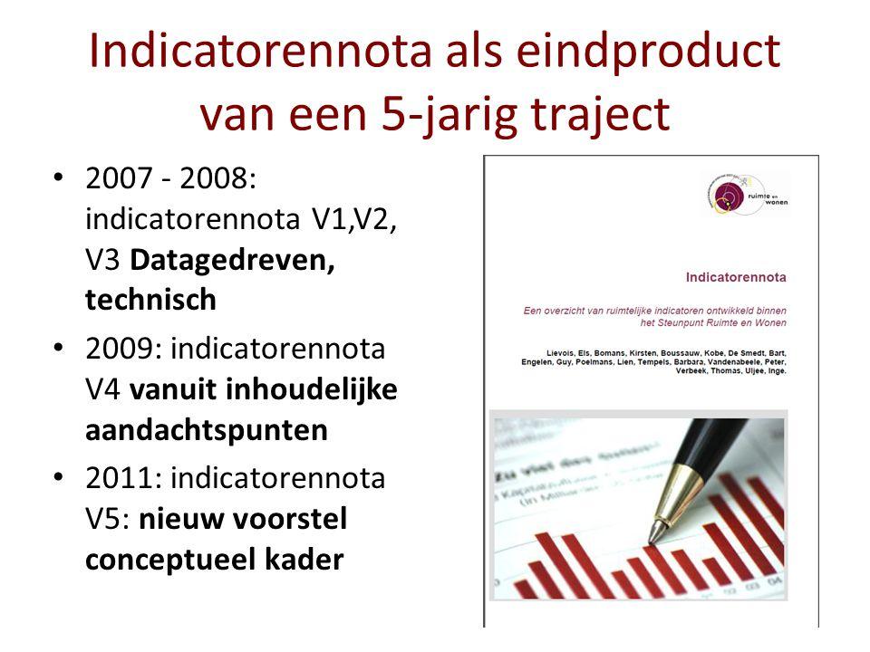 Indicatorennota (2007): oorspronkelijke opzet Indicatorenlijst van het luik Ruimte (SRW) (Een bundeling van het kartografische onderzoek binnen het luik Ruimte) Indicatoren als meeteenheden voor belangrijke ruimtelijke fenomenen (toestand) en de ruimtelijke differentiatie binnen Vlaanderen Indicatoren die ruimtelijke veranderingen/transformaties in beeld brengen (evolutie) ( afhankelijk van beschikbaarheid van tijdsreeksen ) Indicatorennota V1-V3 2007-2008