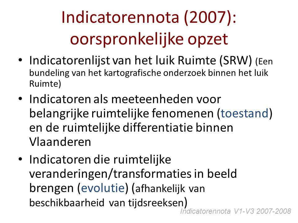 Indicatorennota (2007): oorspronkelijke opzet Indicatorenlijst van het luik Ruimte (SRW) (Een bundeling van het kartografische onderzoek binnen het lu
