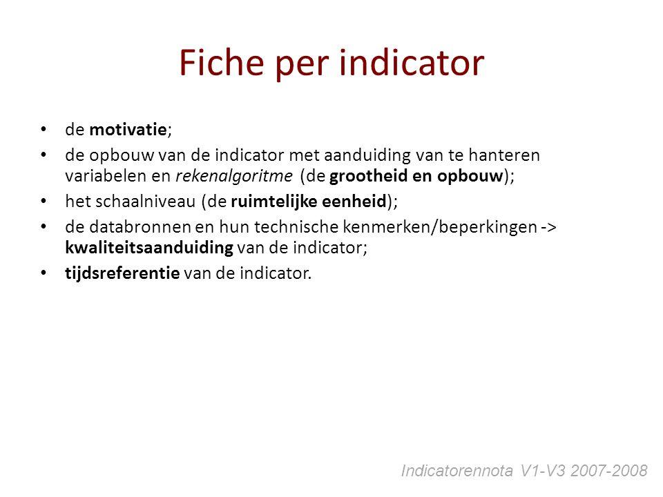 Fiche per indicator de motivatie; de opbouw van de indicator met aanduiding van te hanteren variabelen en rekenalgoritme (de grootheid en opbouw); het