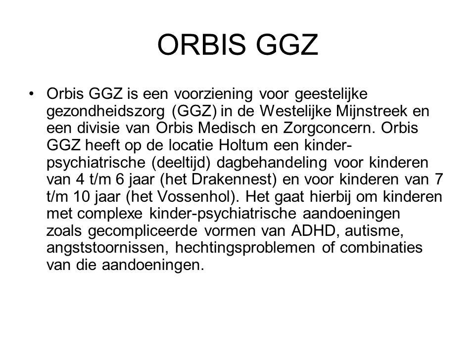 ORBIS GGZ Orbis GGZ is een voorziening voor geestelijke gezondheidszorg (GGZ) in de Westelijke Mijnstreek en een divisie van Orbis Medisch en Zorgconcern.