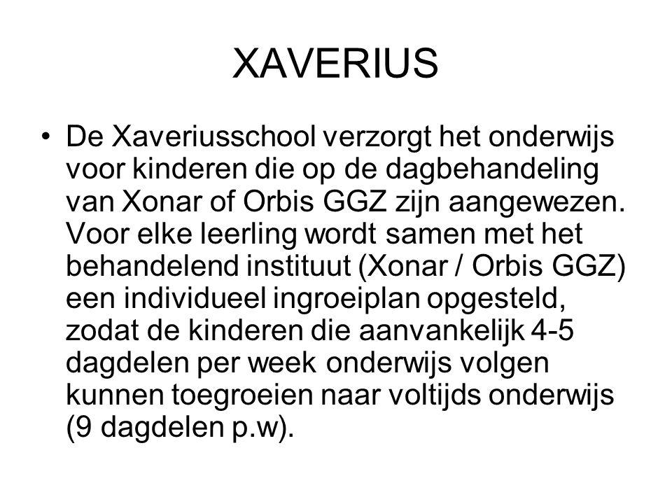 XAVERIUS De Xaveriusschool verzorgt het onderwijs voor kinderen die op de dagbehandeling van Xonar of Orbis GGZ zijn aangewezen. Voor elke leerling wo