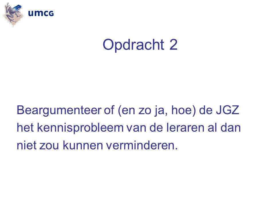 Opdracht 2 Beargumenteer of (en zo ja, hoe) de JGZ het kennisprobleem van de leraren al dan niet zou kunnen verminderen.