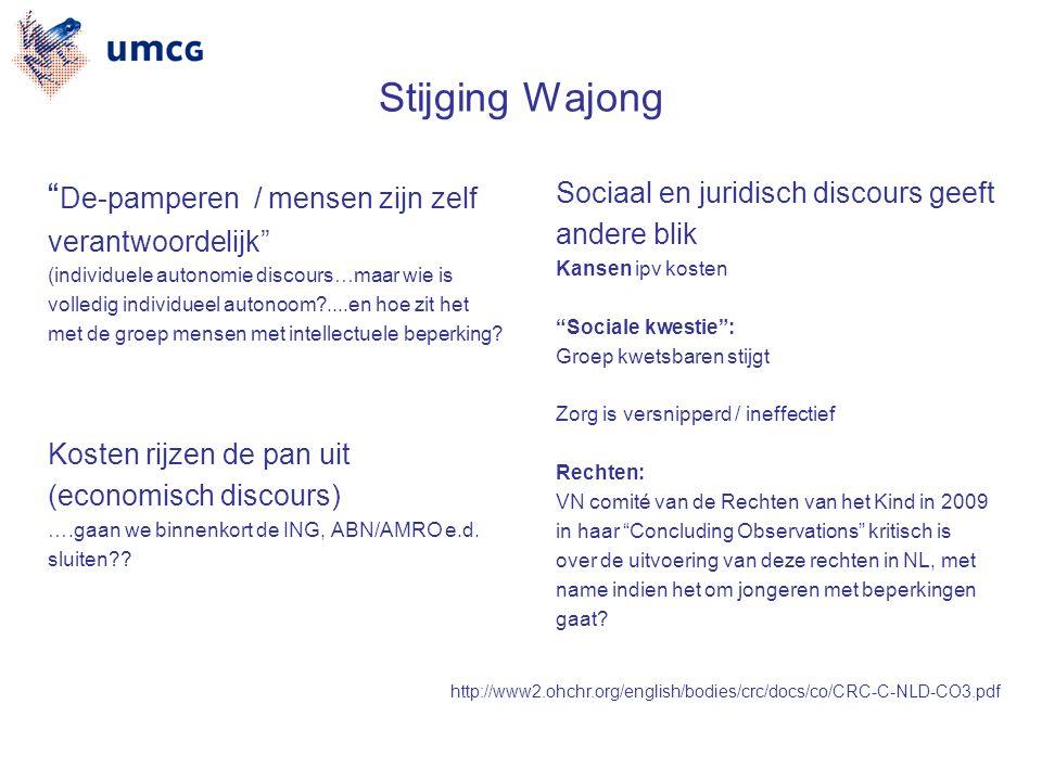 Stijging Wajong De-pamperen / mensen zijn zelf verantwoordelijk (individuele autonomie discours…maar wie is volledig individueel autonoom ....en hoe zit het met de groep mensen met intellectuele beperking.