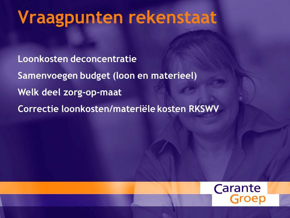 Vraagpunten rekenstaat Loonkosten deconcentratie Samenvoegen budget (loon en materieel) Welk deel zorg-op-maat Correctie loonkosten/materiële kosten RKSWV