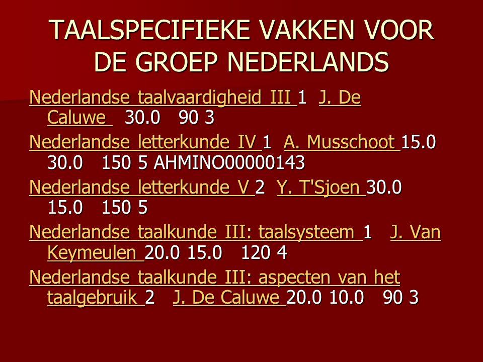 TAALSPECIFIEKE VAKKEN VOOR DE GROEP NEDERLANDS Nederlandse taalvaardigheid III Nederlandse taalvaardigheid III 1 J.