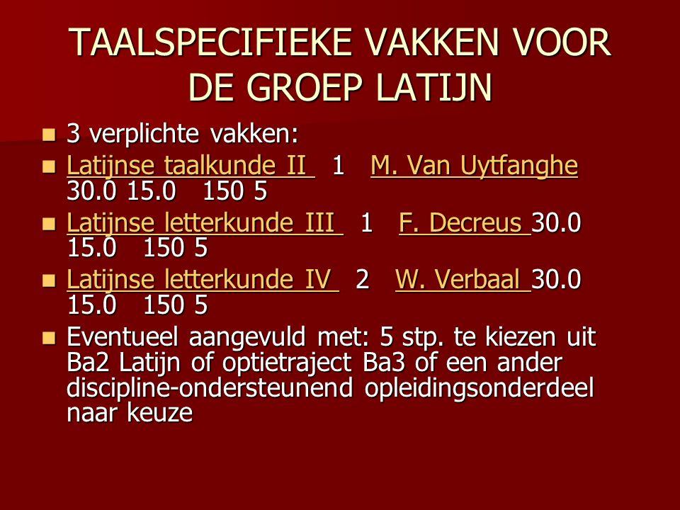 TAALSPECIFIEKE VAKKEN VOOR DE GROEP LATIJN 3 verplichte vakken: 3 verplichte vakken: Latijnse taalkunde II 1 M.