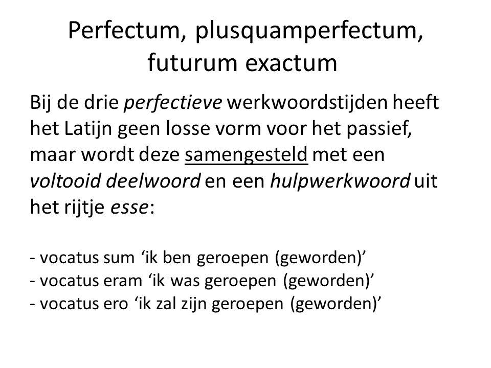 Perfectum, plusquamperfectum, futurum exactum Bij de drie perfectieve werkwoordstijden heeft het Latijn geen losse vorm voor het passief, maar wordt deze samengesteld met een voltooid deelwoord en een hulpwerkwoord uit het rijtje esse: - vocatus sum 'ik ben geroepen (geworden)' - vocatus eram 'ik was geroepen (geworden)' - vocatus ero 'ik zal zijn geroepen (geworden)'