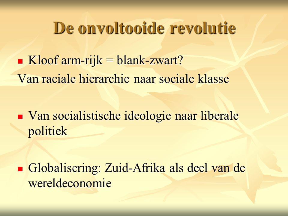 De onvoltooide revolutie Kloof arm-rijk = blank-zwart.