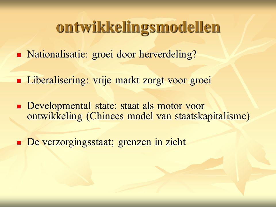 ontwikkelingsmodellen Nationalisatie: groei door herverdeling.