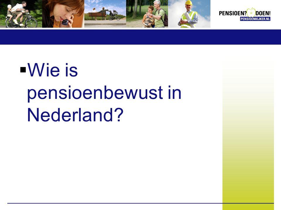  Wie is pensioenbewust in Nederland?