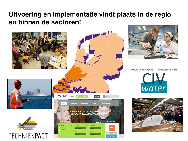 Uitvoering en implementatie vindt plaats in de regio en binnen de sectoren!