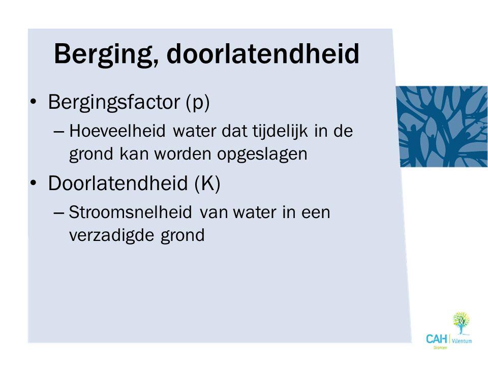 Berging, doorlatendheid Bergingsfactor (p) – Hoeveelheid water dat tijdelijk in de grond kan worden opgeslagen Doorlatendheid (K) – Stroomsnelheid van water in een verzadigde grond