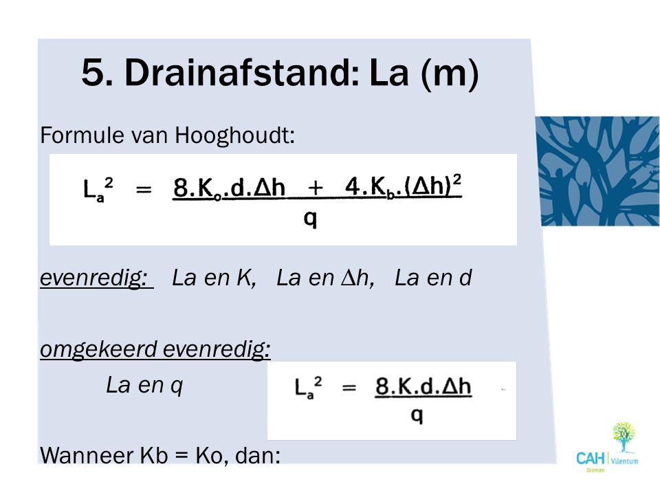 5. Drainafstand: La (m) Formule van Hooghoudt: evenredig: La en K, La en ∆h, La en d omgekeerd evenredig: La en q Wanneer Kb = Ko, dan: