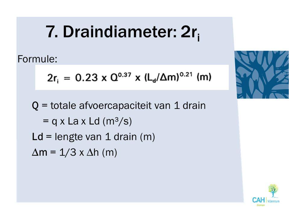 7. Draindiameter: 2r i Formule: Q = totale afvoercapaciteit van 1 drain = q x La x Ld (m³/s) Ld = lengte van 1 drain (m) ∆m = 1/3 x ∆h (m)