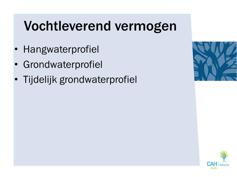 Vochtleverend vermogen Hangwaterprofiel Grondwaterprofiel Tijdelijk grondwaterprofiel