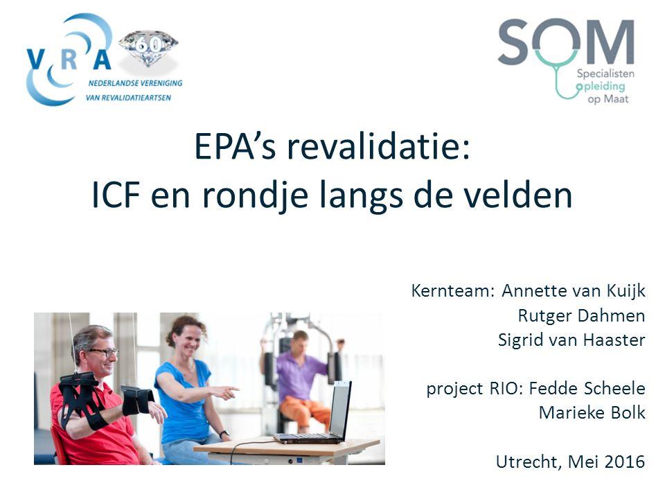 EPA's revalidatie: ICF en rondje langs de velden Kernteam: Annette van Kuijk Rutger Dahmen Sigrid van Haaster project RIO: Fedde Scheele Marieke Bolk