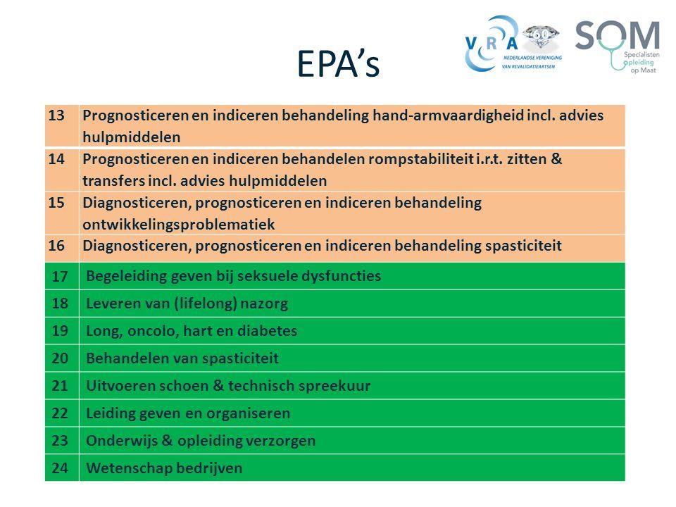 EPA's 13 Prognosticeren en indiceren behandeling hand-armvaardigheid incl. advies hulpmiddelen 14 Prognosticeren en indiceren behandelen rompstabilite