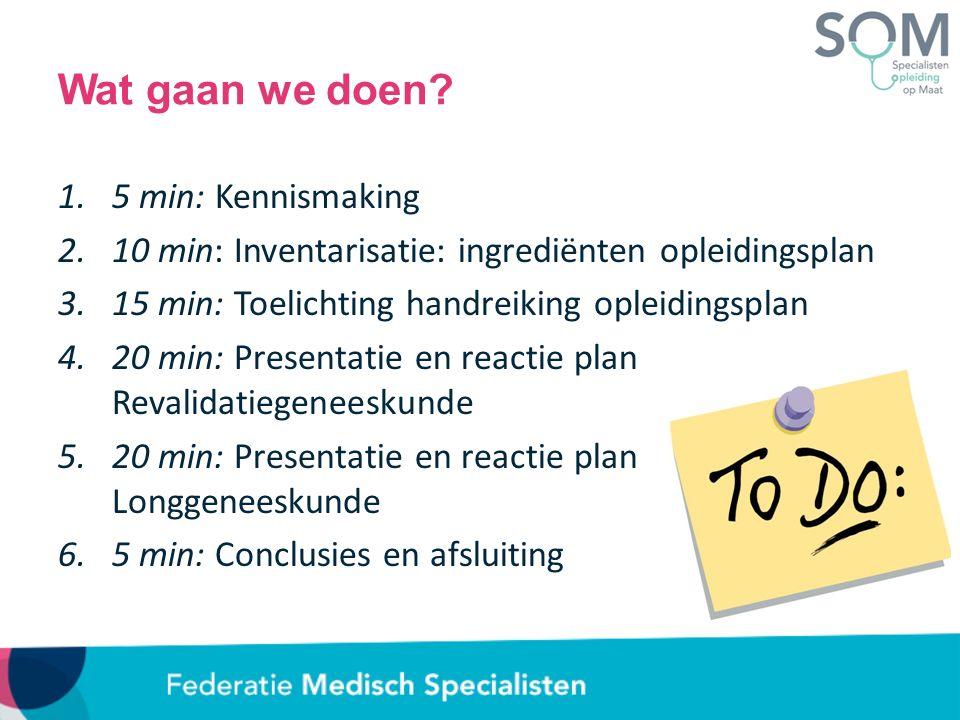 Wat gaan we doen? 1.5 min: Kennismaking 2.10 min: Inventarisatie: ingrediënten opleidingsplan 3.15 min: Toelichting handreiking opleidingsplan 4.20 mi