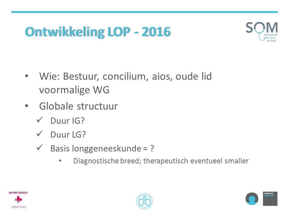 Ontwikkeling LOP - 2016Ontwikkeling LOP - 2016 Wie: Bestuur, concilium, aios, oude lid voormalige WG Globale structuur Duur IG? Duur LG? Basis longgen