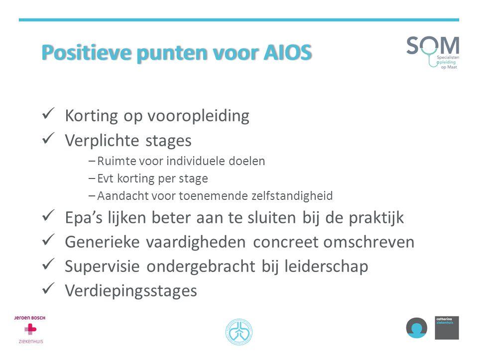 Positieve punten voor AIOSPositieve punten voor AIOS Korting op vooropleiding Verplichte stages –Ruimte voor individuele doelen –Evt korting per stage