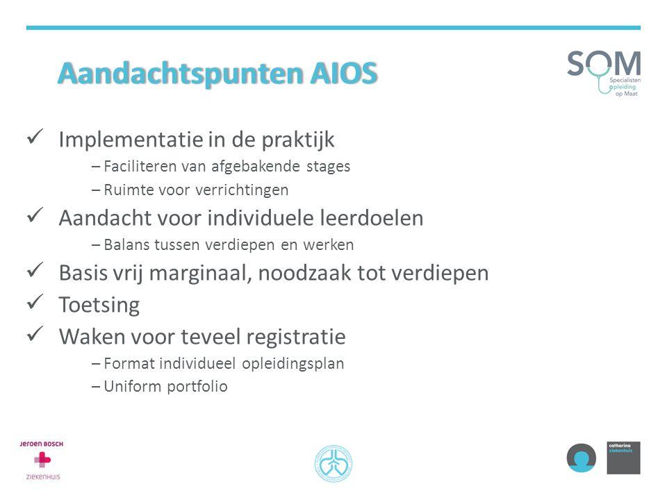 Aandachtspunten AIOSAandachtspunten AIOS Implementatie in de praktijk –Faciliteren van afgebakende stages –Ruimte voor verrichtingen Aandacht voor ind