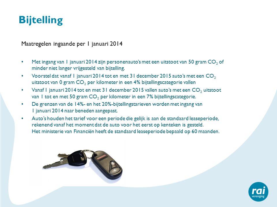 Bijtelling Maatregelen ingaande per 1 januari 2014 Met ingang van 1 januari 2014 zijn personenauto's met een uitstoot van 50 gram CO 2 of minder niet langer vrijgesteld van bijtelling.