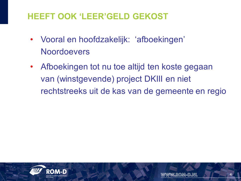 4 HEEFT OOK 'LEER'GELD GEKOST Vooral en hoofdzakelijk: 'afboekingen' Noordoevers Afboekingen tot nu toe altijd ten koste gegaan van (winstgevende) pro