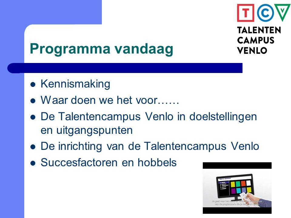 Programma vandaag Kennismaking Waar doen we het voor…… De Talentencampus Venlo in doelstellingen en uitgangspunten De inrichting van de Talentencampus Venlo Succesfactoren en hobbels