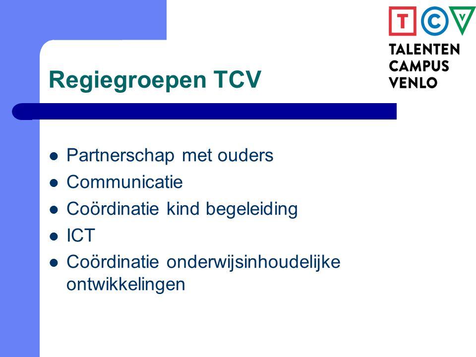Regiegroepen TCV Partnerschap met ouders Communicatie Coördinatie kind begeleiding ICT Coördinatie onderwijsinhoudelijke ontwikkelingen