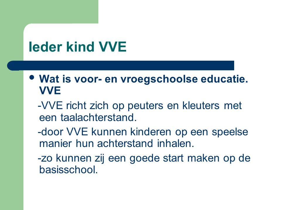 Ieder kind VVE Wat is voor- en vroegschoolse educatie. VVE -VVE richt zich op peuters en kleuters met een taalachterstand. -door VVE kunnen kinderen o