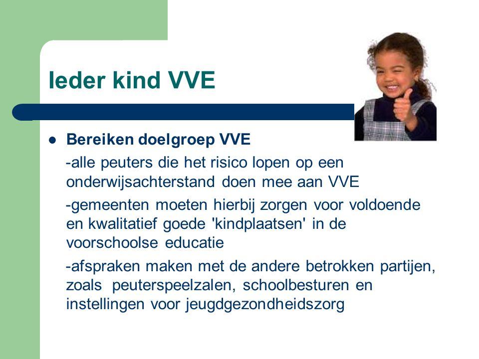Ieder kind VVE Bereiken doelgroep VVE -alle peuters die het risico lopen op een onderwijsachterstand doen mee aan VVE -gemeenten moeten hierbij zorgen