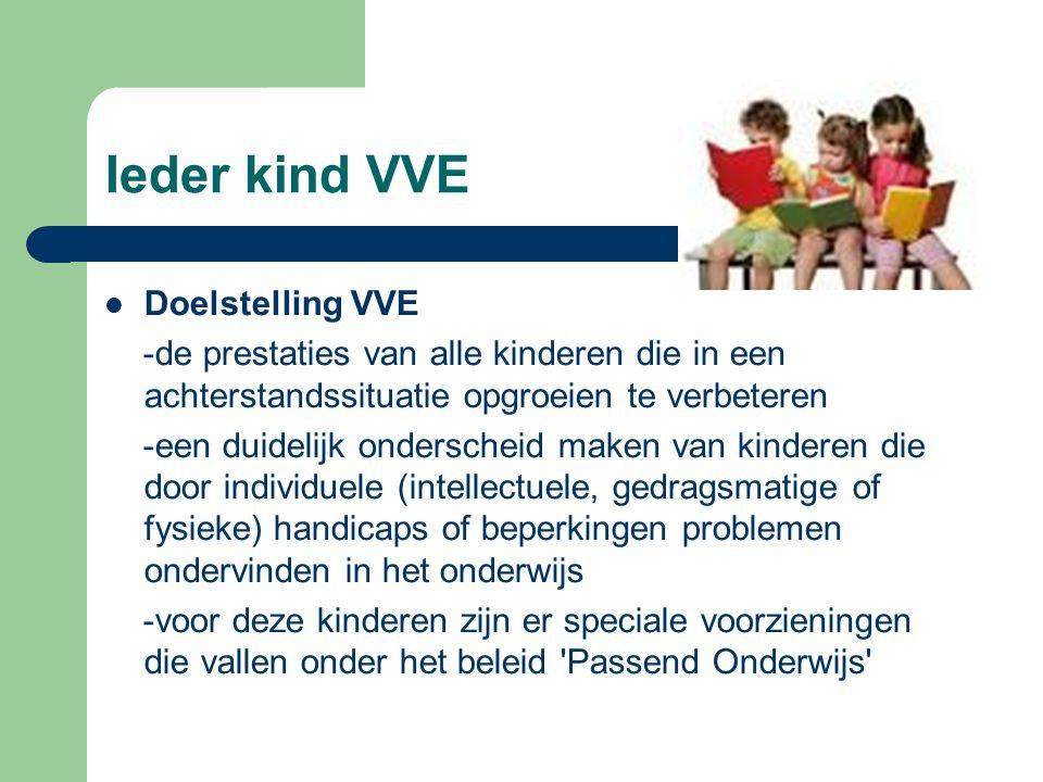 Ieder kind VVE Doelstelling VVE -de prestaties van alle kinderen die in een achterstandssituatie opgroeien te verbeteren -een duidelijk onderscheid ma