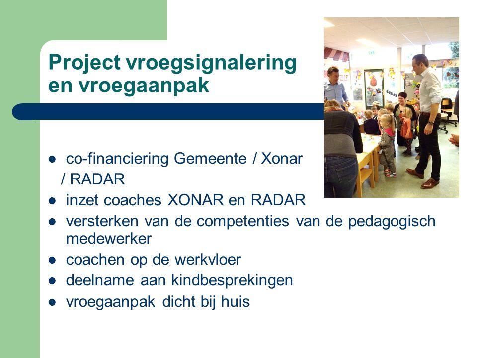 Project vroegsignalering en vroegaanpak co-financiering Gemeente / Xonar / RADAR inzet coaches XONAR en RADAR versterken van de competenties van de pedagogisch medewerker coachen op de werkvloer deelname aan kindbesprekingen vroegaanpak dicht bij huis