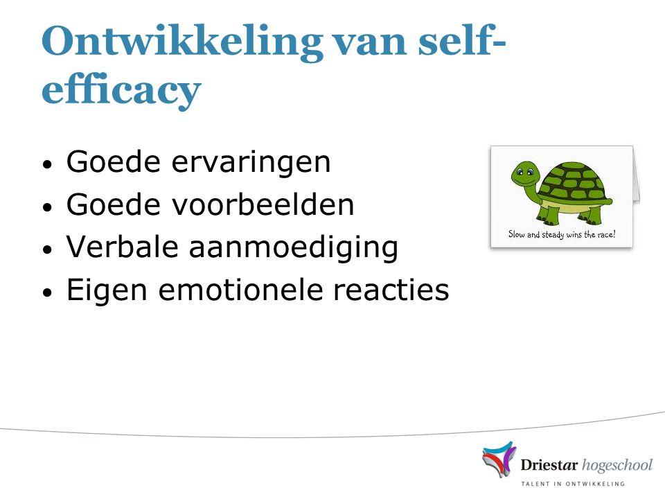 Ontwikkeling van self- efficacy Goede ervaringen Goede voorbeelden Verbale aanmoediging Eigen emotionele reacties