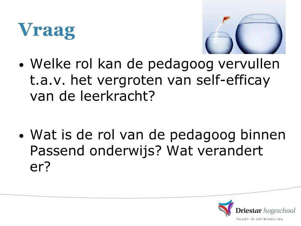 Vraag Welke rol kan de pedagoog vervullen t.a.v. het vergroten van self-efficay van de leerkracht.